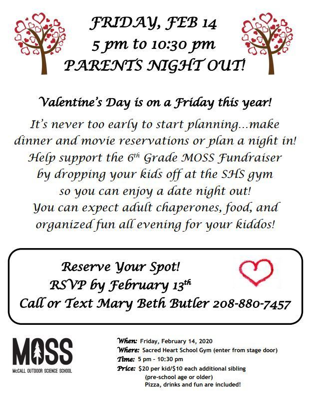 Moss fundraiser - Valentines Day Date night opportunity
